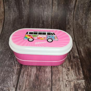 VW Bus Wohnmobil VW T1 rosa Summer Love - Bento Box Lunchbox/Lunchset/Brotzeitbox -