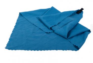 Mini Mikrofaser Handtuch blau im Netzbeutel und mit Karabiner