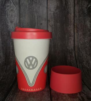 VW Bus Reisebecher /Reisetasse rot Bambus-Verbundsstoff Volkswagen Wohnmobil