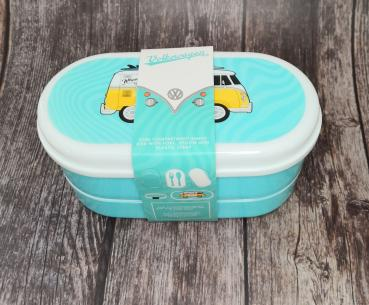 VW Bus Wohnmobil VW T1 hellblau Surf Adventure - Bento Box Lunchbox/Lunchset/Brotzeitbox -